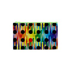 Watermark Circles Squares Polka Dots Rainbow Plaid Cosmetic Bag (xs) by Mariart
