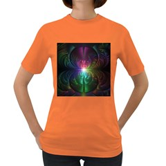 Anodized Rainbow Eyes And Metallic Fractal Flares Women s Dark T Shirt