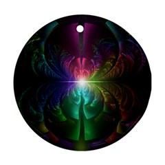 Anodized Rainbow Eyes And Metallic Fractal Flares Round Ornament (two Sides)