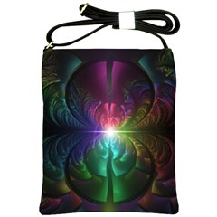 Anodized Rainbow Eyes And Metallic Fractal Flares Shoulder Sling Bags by jayaprime
