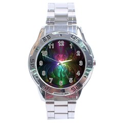 Anodized Rainbow Eyes And Metallic Fractal Flares Stainless Steel Analogue Watch by jayaprime
