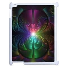 Anodized Rainbow Eyes And Metallic Fractal Flares Apple Ipad 2 Case (white) by beautifulfractals