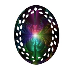 Anodized Rainbow Eyes And Metallic Fractal Flares Oval Filigree Ornament (two Sides)