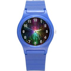 Anodized Rainbow Eyes And Metallic Fractal Flares Round Plastic Sport Watch (s)