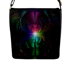 Anodized Rainbow Eyes And Metallic Fractal Flares Flap Messenger Bag (l)  by beautifulfractals