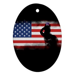 Honor Our Heroes On Memorial Day Ornament (oval) by Catifornia