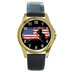 Honor Our Heroes On Memorial Day Round Gold Metal Watch by Catifornia