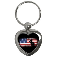 Honor Our Heroes On Memorial Day Key Chains (heart)  by Catifornia