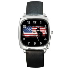 Honor Our Heroes On Memorial Day Square Metal Watch by Catifornia