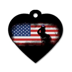 Honor Our Heroes On Memorial Day Dog Tag Heart (one Side)