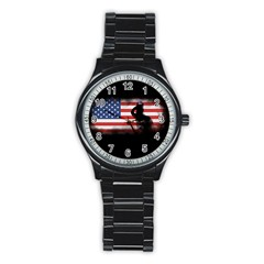 Honor Our Heroes On Memorial Day Stainless Steel Round Watch by Catifornia