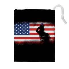 Honor Our Heroes On Memorial Day Drawstring Pouches (extra Large) by Catifornia