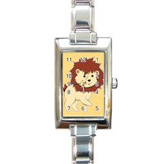 Happy Cartoon Baby Lion Rectangle Italian Charm Watch by Catifornia