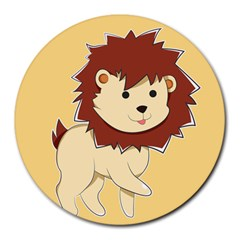 Happy Cartoon Baby Lion Round Mousepads