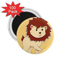 Happy Cartoon Baby Lion 2 25  Magnets (100 Pack)  by Catifornia
