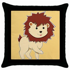 Happy Cartoon Baby Lion Throw Pillow Case (black) by Catifornia