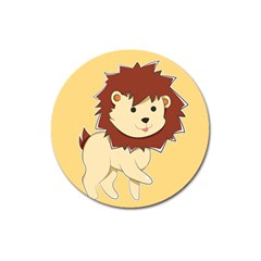 Happy Cartoon Baby Lion Magnet 3  (round) by Catifornia