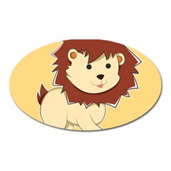 Happy Cartoon Baby Lion Oval Magnet by Catifornia