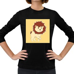 Happy Cartoon Baby Lion Women s Long Sleeve Dark T Shirts by Catifornia