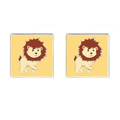 Happy Cartoon Baby Lion Cufflinks (square) by Catifornia