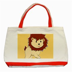 Happy Cartoon Baby Lion Classic Tote Bag (red) by Catifornia