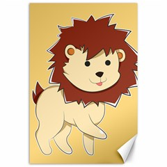Happy Cartoon Baby Lion Canvas 24  X 36  by Catifornia