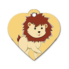 Happy Cartoon Baby Lion Dog Tag Heart (one Side)