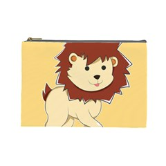Happy Cartoon Baby Lion Cosmetic Bag (large)  by Catifornia