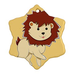 Happy Cartoon Baby Lion Ornament (snowflake) by Catifornia