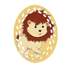 Happy Cartoon Baby Lion Ornament (oval Filigree) by Catifornia