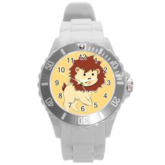 Happy Cartoon Baby Lion Round Plastic Sport Watch (l) by Catifornia