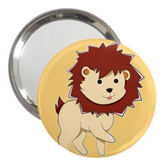Happy Cartoon Baby Lion 3  Handbag Mirrors by Catifornia