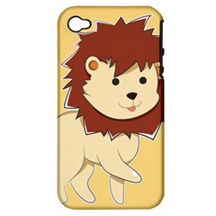 Happy Cartoon Baby Lion Apple Iphone 4/4s Hardshell Case (pc+silicone) by Catifornia