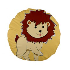 Happy Cartoon Baby Lion Standard 15  Premium Round Cushions by Catifornia