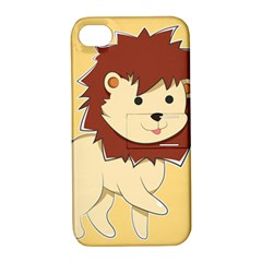 Happy Cartoon Baby Lion Apple Iphone 4/4s Hardshell Case With Stand by Catifornia