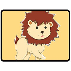 Happy Cartoon Baby Lion Double Sided Fleece Blanket (large)  by Catifornia