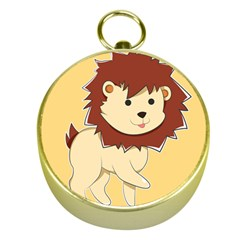Happy Cartoon Baby Lion Gold Compasses by Catifornia