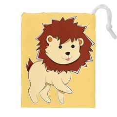 Happy Cartoon Baby Lion Drawstring Pouches (xxl) by Catifornia