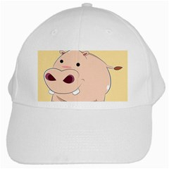 Happy Cartoon Baby Hippo White Cap by Catifornia