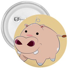 Happy Cartoon Baby Hippo 3  Buttons by Catifornia