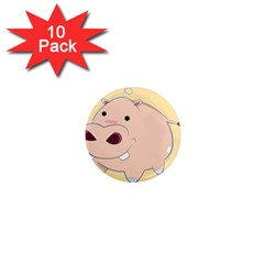 Happy Cartoon Baby Hippo 1  Mini Magnet (10 Pack)  by Catifornia