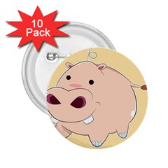 Happy Cartoon Baby Hippo 2 25  Buttons (10 Pack)  by Catifornia