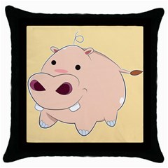 Happy Cartoon Baby Hippo Throw Pillow Case (black) by Catifornia