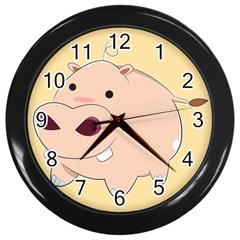 Happy Cartoon Baby Hippo Wall Clocks (black) by Catifornia
