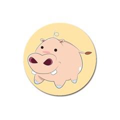Happy Cartoon Baby Hippo Magnet 3  (round) by Catifornia