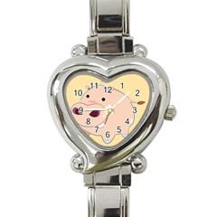Happy Cartoon Baby Hippo Heart Italian Charm Watch by Catifornia