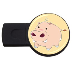 Happy Cartoon Baby Hippo Usb Flash Drive Round (4 Gb) by Catifornia