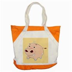 Happy Cartoon Baby Hippo Accent Tote Bag by Catifornia