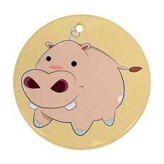 Happy Cartoon Baby Hippo Round Ornament (two Sides) by Catifornia
