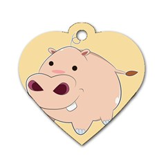Happy Cartoon Baby Hippo Dog Tag Heart (one Side) by Catifornia